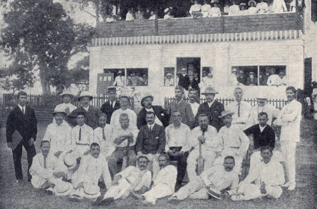 Old crocks of the Colts C.C. at the opening of the Khan pavilion at the Racquet Court in 1905